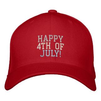 O 4o feliz de branco vermelho & do azul de julho boné bordado