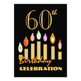 o 60th ou todo o ouro do aniversário do ano convite personalizado
