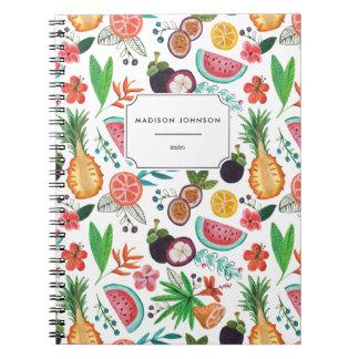 O abacaxi da fruta tropical floresce o caderno da
