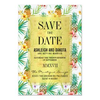 O abacaxi & os hibiscus tropicais salvar a data convite 8.89 x 12.7cm