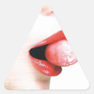 O abstrato colore o Lolly dos lábios Adesivo Triangular