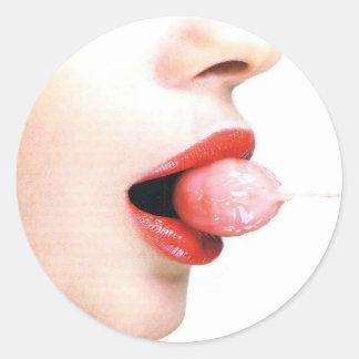 O abstrato colore o Lolly dos lábios Adesivos Redondos