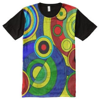 O abstrato colorido circunda a arte do Gouache Camisetas Com Impressão Frontal Completa