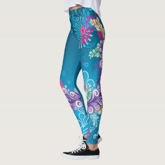 O abstrato floresce o azul legging