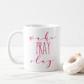 O acordar Pray massacra a caneca