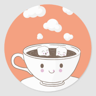O açúcar engraçado bonito cuba o banho no copo de adesivo redondo
