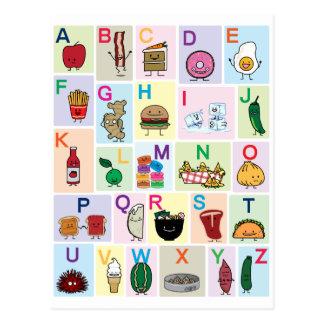 O alfabeto de ABC que aprende alimentos felizes Cartão Postal