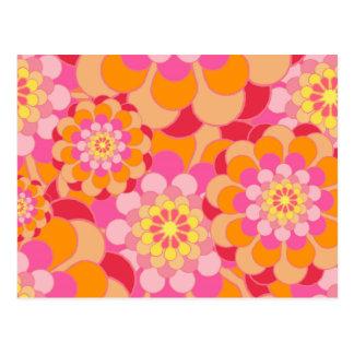 O amarelo cor-de-rosa retro tonifica o teste cartão postal