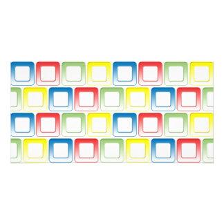 O amarelo do verde do vermelho azul molda o teste  cartão com foto