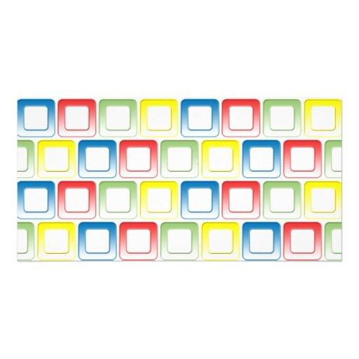 O amarelo do verde do vermelho azul molda o teste  cartao com foto personalizado