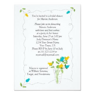 O amarelo & o chá de panela das flores da tulipa convite 10.79 x 13.97cm