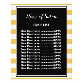 O amarelo preto na moda listra a tabela de preços flyer 11.43 x 14.22cm