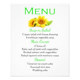 O amarelo verde floral do menu floresce o