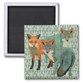 O âmbar de Smokey Foxes o ímã da borboleta Ímã Quadrado
