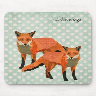 O âmbar Foxes Mousepad personalizado Polkadot