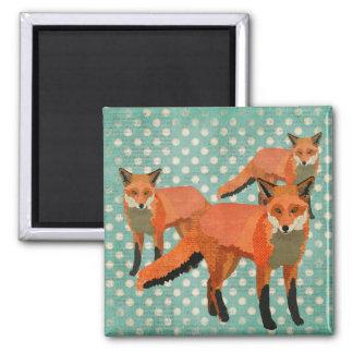 O âmbar Foxes o ímã de Polkadot Ímã Quadrado