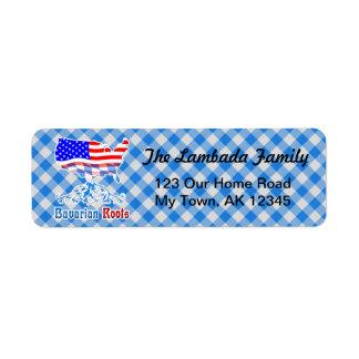 O americano bávaro enraíza o modelo das etiquetas