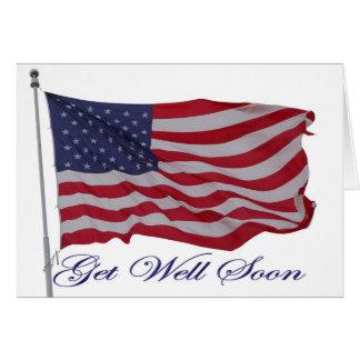 O americano patriótico obtem o cartão bom