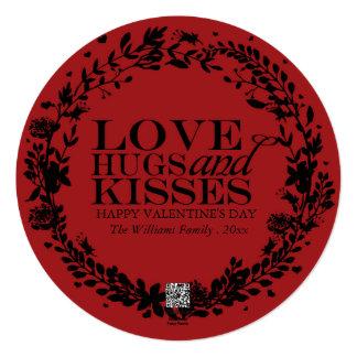 O amor abraça e beija cartões do dia dos namorados convite quadrado 13.35 x 13.35cm