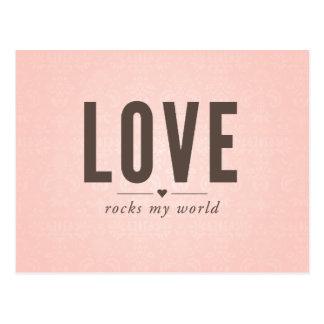 O amor balança meu cartão do vintage do mundo