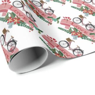 O amor Bicycles bandeiras florais Papel De Presente