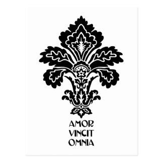 O amor conquista tudo (preto-branco) cartão postal