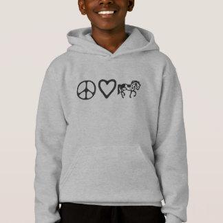 O amor da paz pinta o Hoodie do miúdo