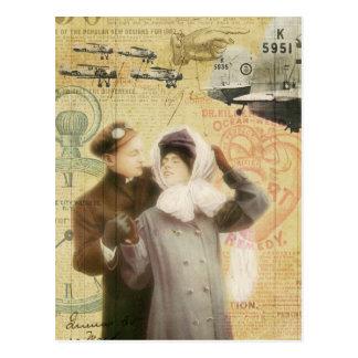 O amor do casal do dia dos namorados do vintage cartão postal