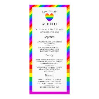 O amor do coração do arco-íris é menu do casamento