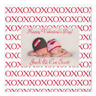 O amor do XOXO dos namorados dobro! Convite Quadrado 13.35 X 13.35cm