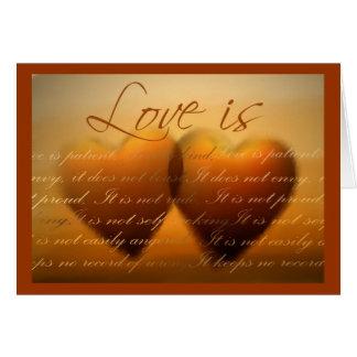 O amor é… cartão elegante do coração