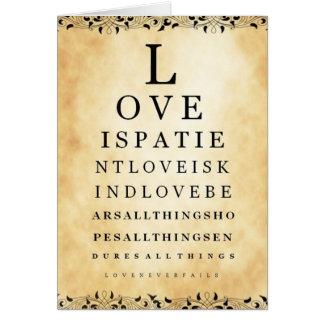 O amor é cartão paciente da carta de olho do