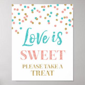 O amor é confete doce do coral da cerceta do ouro pôster