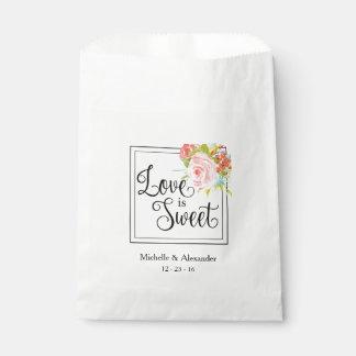 O amor é doce - saco do favor do casamento, sacolinha