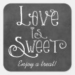 O amor é encanto doce do quadro da etiqueta | do adesivo quadrado