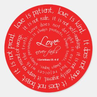 O amor é etiquetas cristãs vermelhas pacientes do