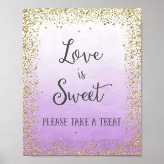 O amor é impressão doce do poster do casamento