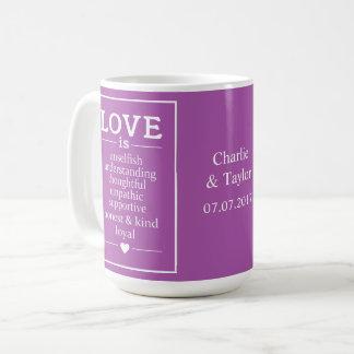 O amor é… nomes, data & canecas feitos sob