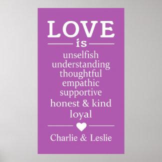 O amor é… nomes feitos sob encomenda & poster da