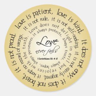 O amor é paciente, etiqueta circular do casamento