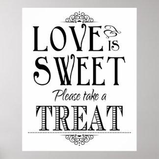 O amor é poster doce do sinal do casamento pôster
