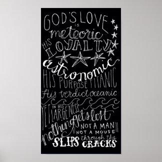 O amor é preto & branco astronômicos da cópia posters