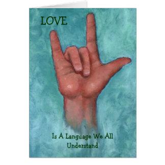 O amor é uma língua nós que todos compreendem o li cartao
