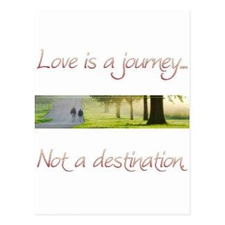 O amor é uma viagem cartão postal