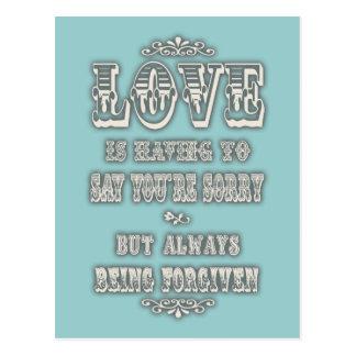 O amor está dizendo cartão postal