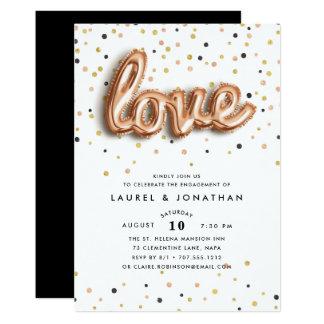 O amor está no convite da festa de noivado do ar |