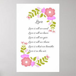 O amor está no poster floral da poesia do ar pôster