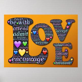 O amor, incentiva, aceita, adota, poster da pôster