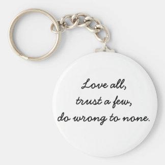 O amor inspirado do chaveiro cita presentes da paz