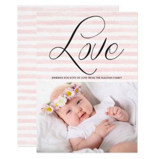 O amor na aguarela listra o cartão do dia dos convite 12.7 x 17.78cm